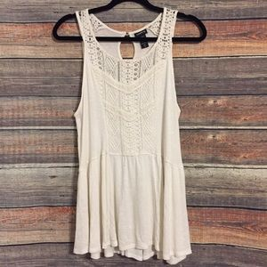 Torrid cream crochet keyhole ribbed tank top